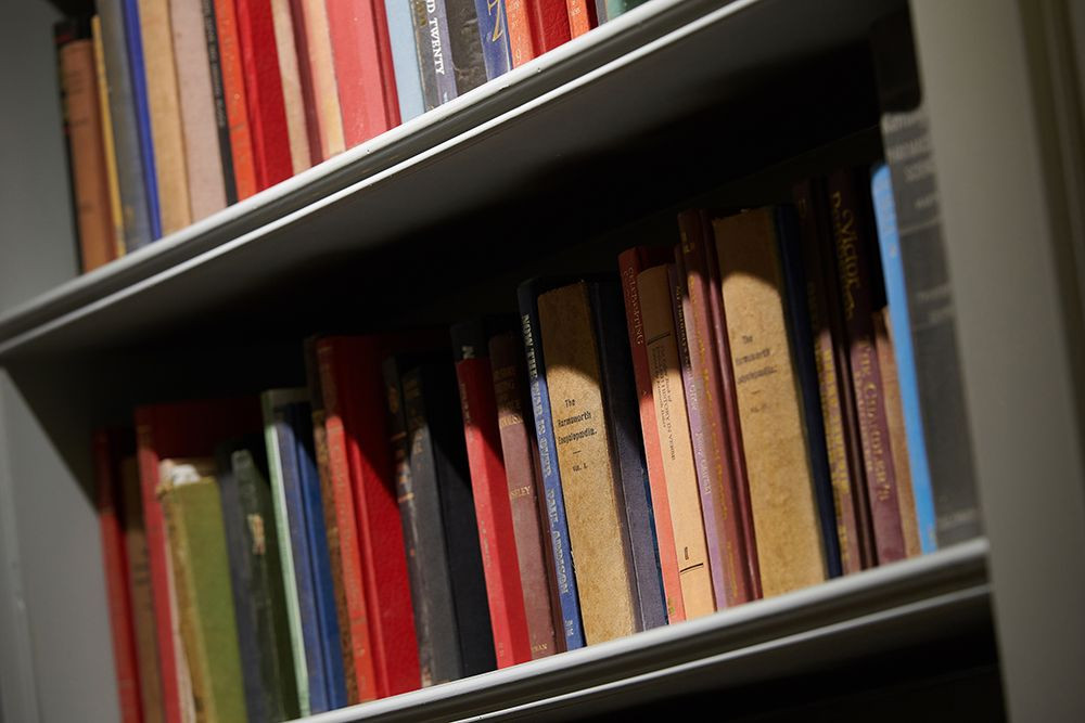 Old books lined up on a painted book shelf